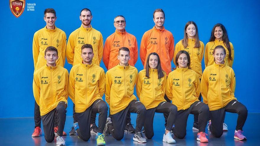 Integrantes de la selección española de pelota que está tomando parte del Mundial Sub 22 de Tenerife.