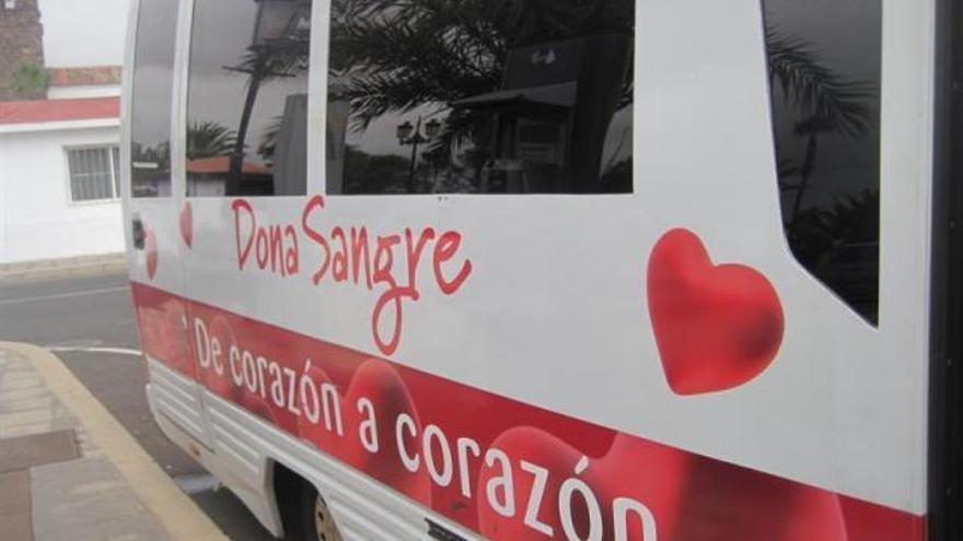 Guagua de una campaña de donación de sangre.