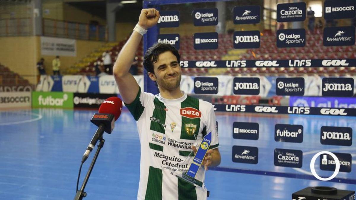 Pablo del Moral, tras ser elegido 'MVP' en un partido