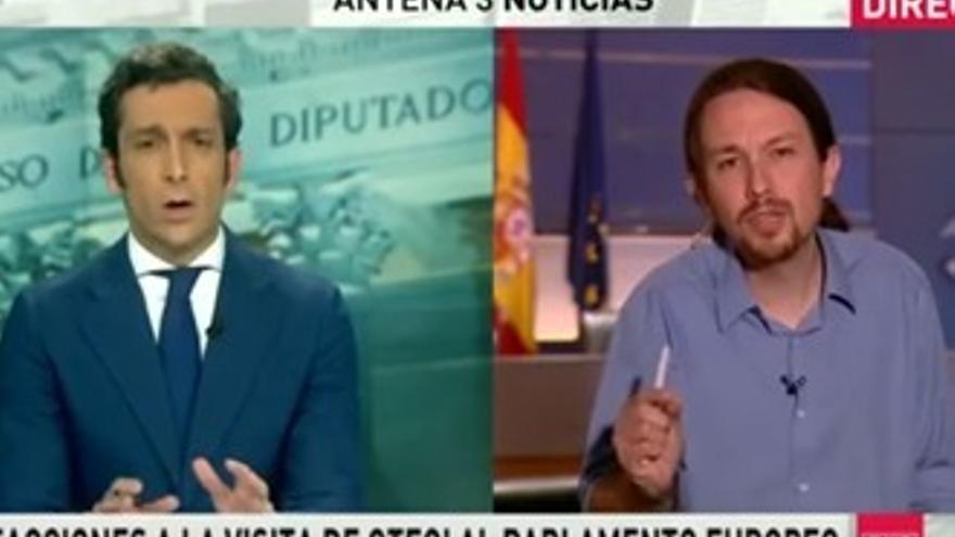 """Tensa entrevista de Pablo Iglesias en Antena 3 Noticias: """"Eso es mentira"""""""