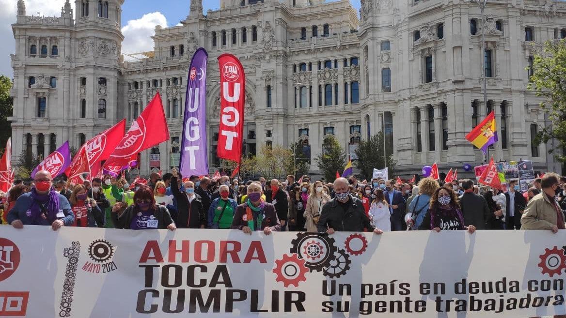 La cabecera de la manifestación del Primero de Mayo de 2021.