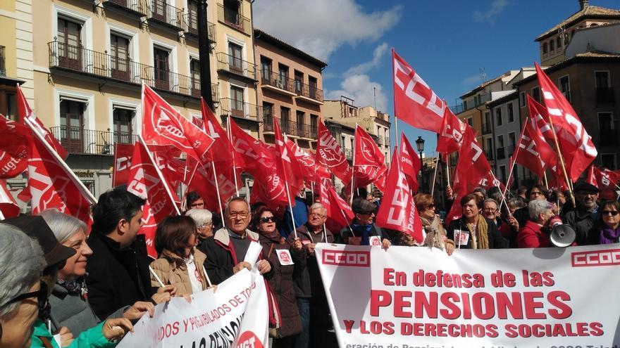 """Una movilización anterior en Toledo bajo el lema """"más pensiones y menos ladrones"""""""