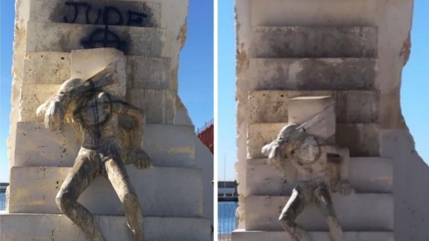 """El Ayuntamiento retira las pintadas con mensajes """"racistas"""" en el monumento a las víctimas de Mauthausen"""