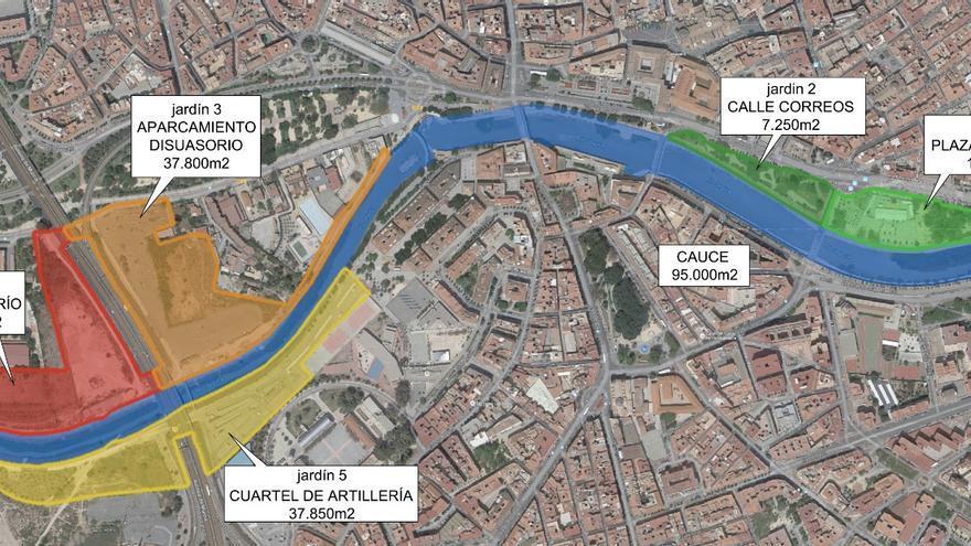 Plano de situación del área del río Segura en Murcia que se incluyen en el plan de Ballesta