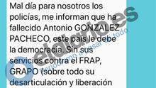 """Mensaje entre comisarios retirados sobre 'Billy el Niño': """"Le debemos la democracia. Pablo Iglesias estará hoy muy contento"""""""