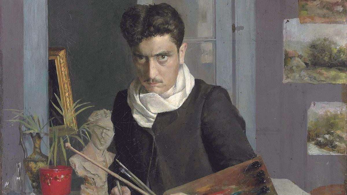 Detalle de la obra 'Autorretrato de un joven', de Julio Romero de Torres.