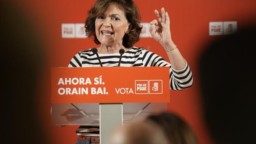 La vicepresidenta del Gobierno, Carmen Calvo, en un acto del PSOE.