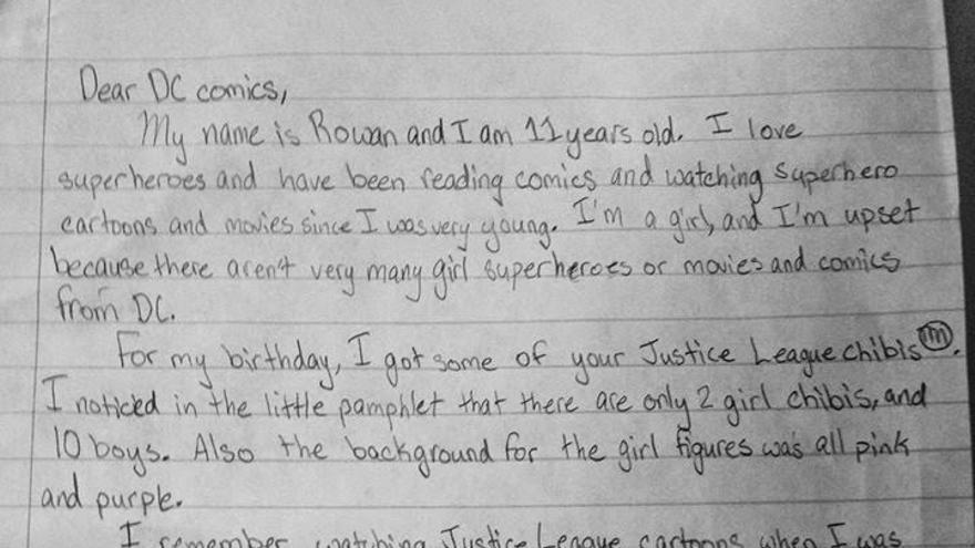 Fragmento de la carta que Rowan Hansen (11 años) envió a DC Comics.