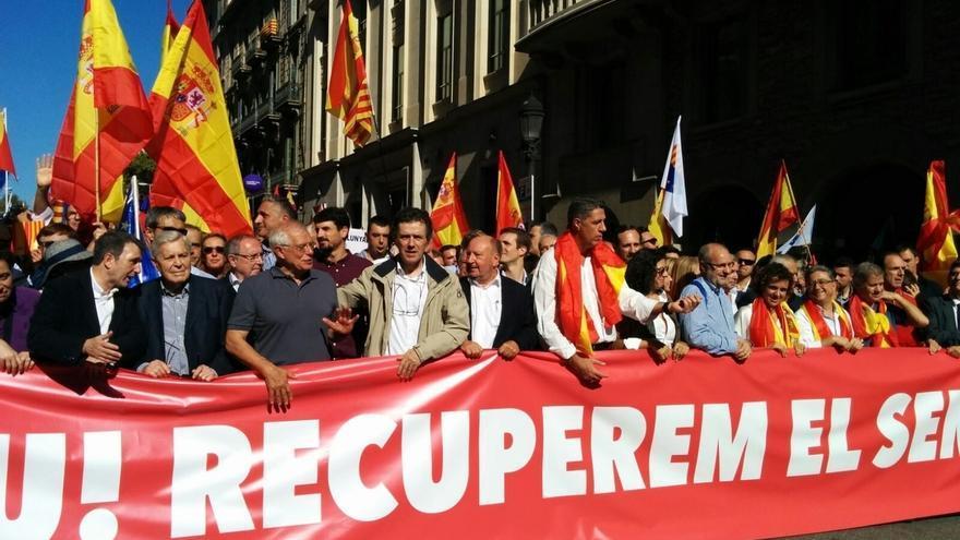 Capçalera de la manifestació el 8 d'octubre a Barcelona
