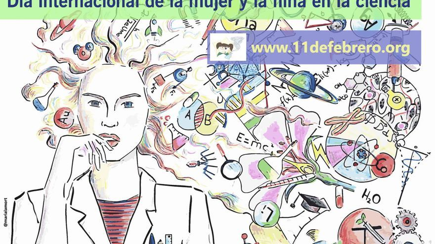 Cartel del Día Internacional de la Mujer y la Niña en la Ciencia.