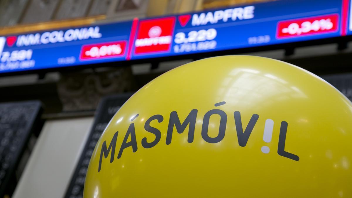 Logotipo de MásMóvil en la Bolsa de Madrid
