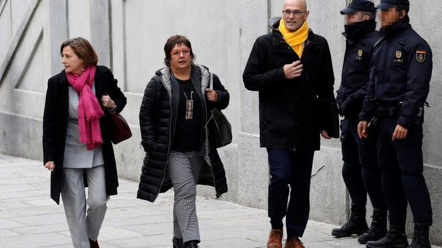 Forcadell, Bassa y Romeva entrando en el Supremo el 23 de marzo, el día que volvieron a prisión