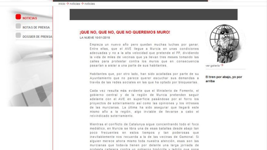Hackean la web de Murcia Alta Velocidad con mensajes Pro Soterramiento
