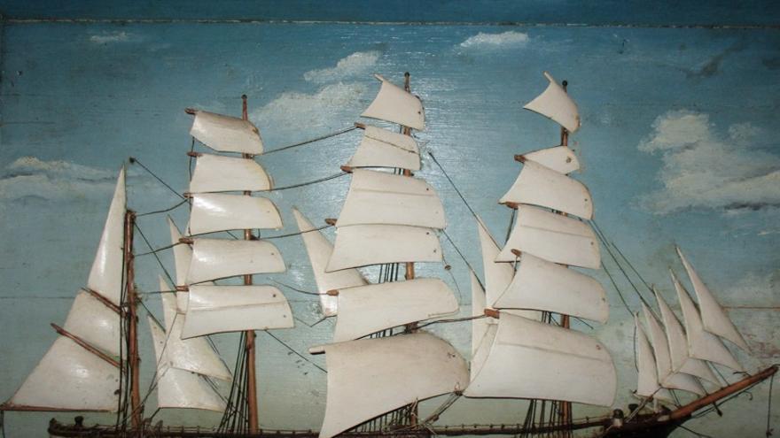 En la imagen, una pintura del velero Pamir.