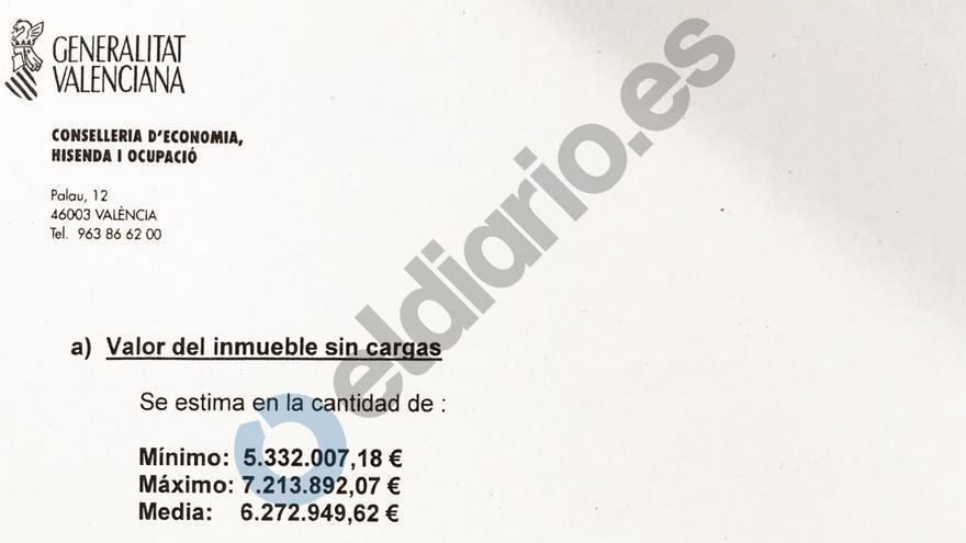 Tasación del servicio de gestión inmobiliaria de la Conselleria de Economía, con fecha 10 de junio de 2005 (tres días después de la valoración independiente).