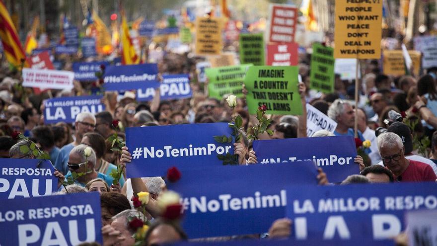 Manifestación contra el miedo y el terrorismo en Barcelona
