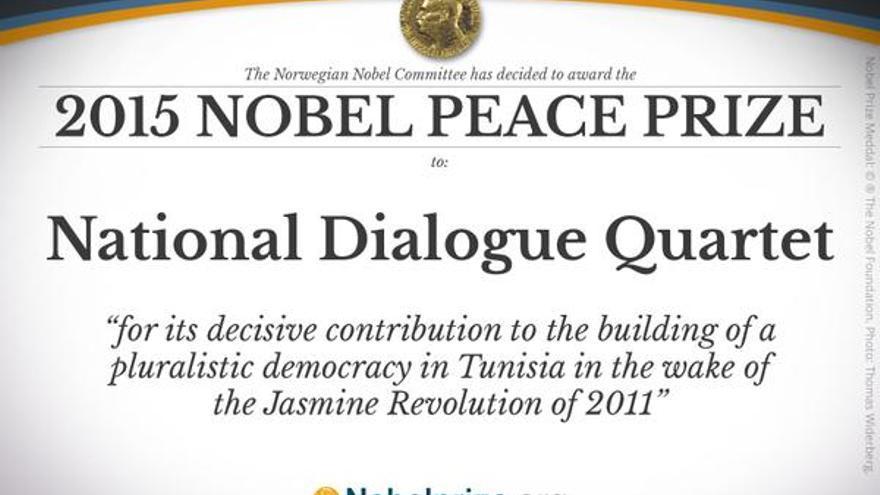 Con este cartel ha anunciado el Comité del Premio Nobel el galardón de la paz al Cuarteto de Diálogo Nacional de Túnez