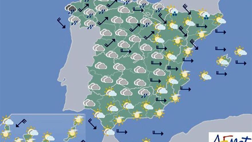 La semana comenzará con fuertes rachas de viento en el noreste y Baleares