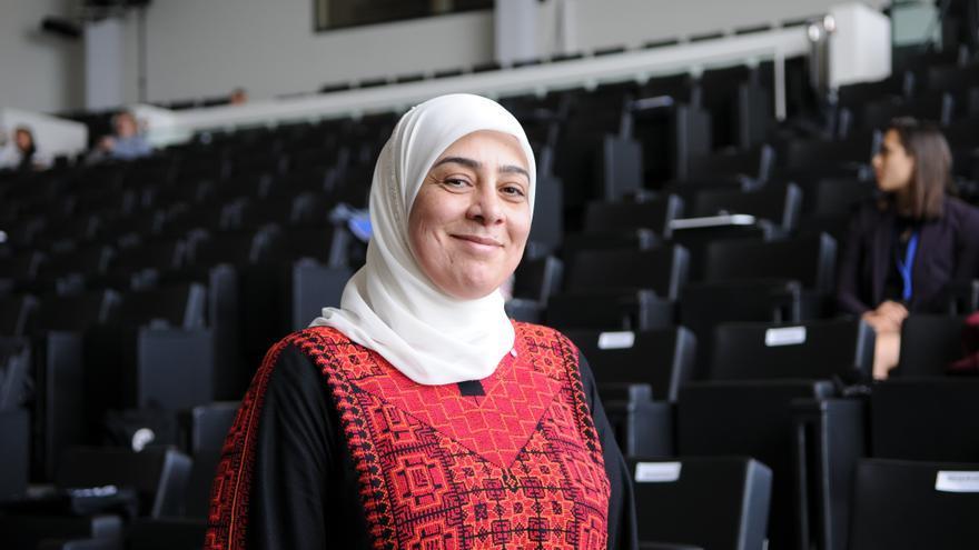 Laila Ghannam, gobernadora de Ramala y Al Bireh, Palestina durante la conferencia de Unión por el Mediterráneo