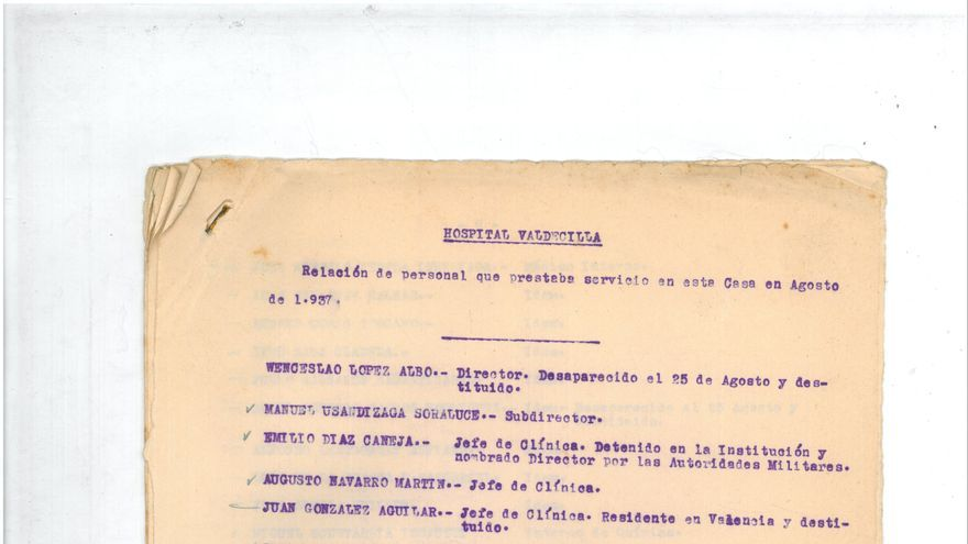 Relación del cuerpo médico de Valdecilla tras la toma de Santander en 1937. | Biblioteca Marquesa Pelayo