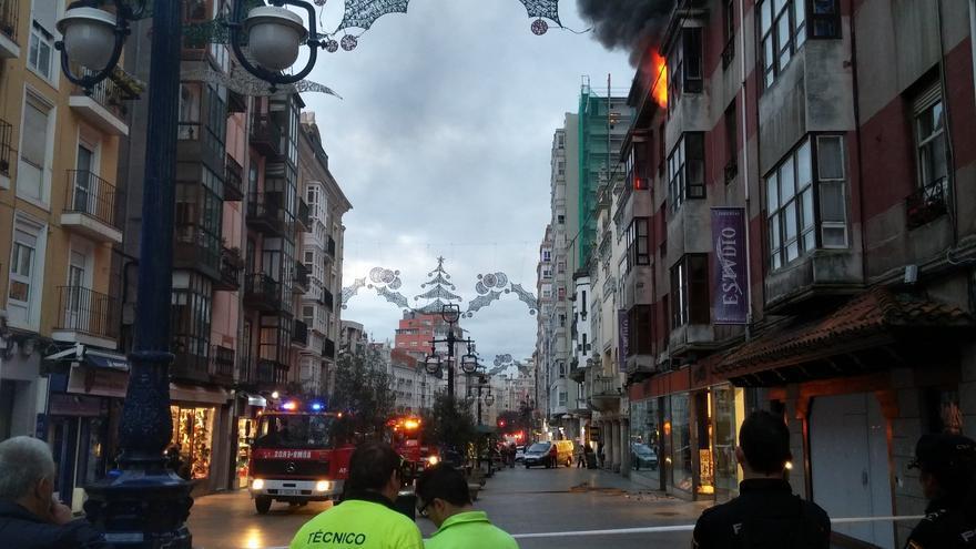 Incendio en calle Burgos de Santander