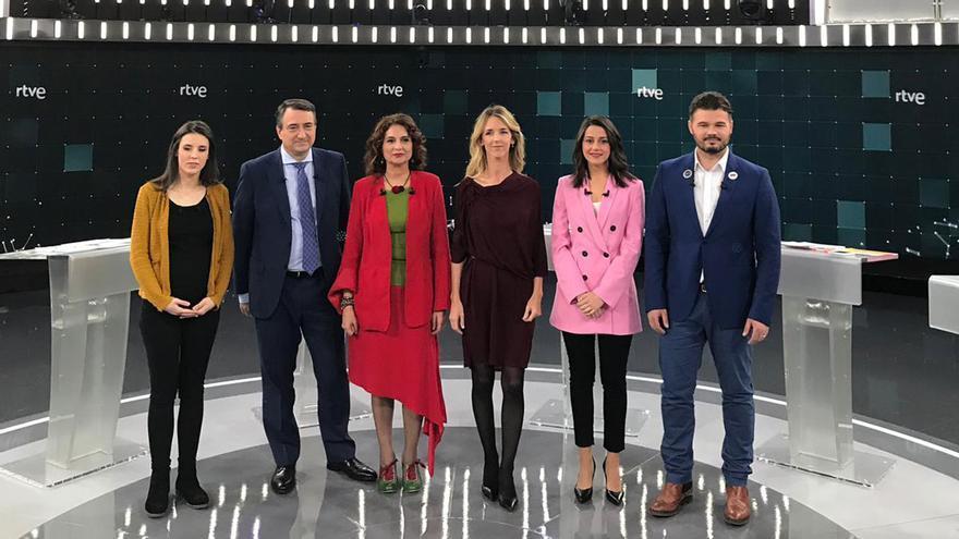 Los candidatos de los seis principales partidos políticos que han participado en el debate de RTVE.