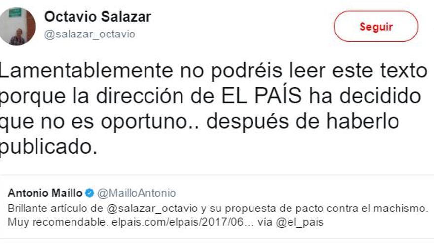 Tuit de Octavio Salazar