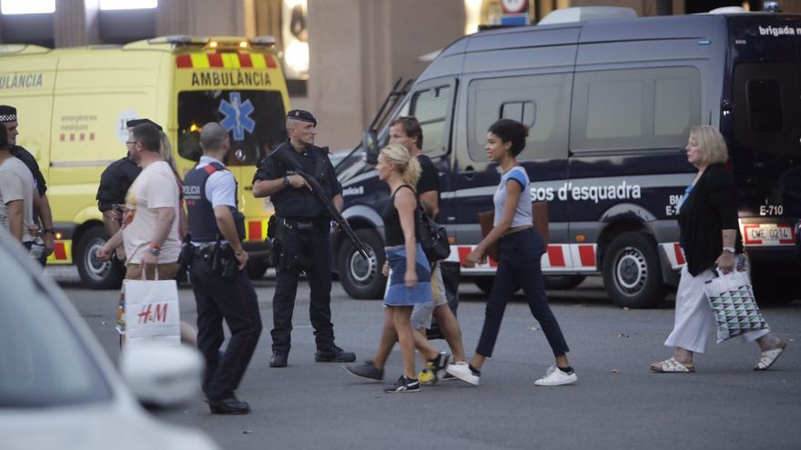 Dispositivo de los Mossos por el atentado en Barcelona