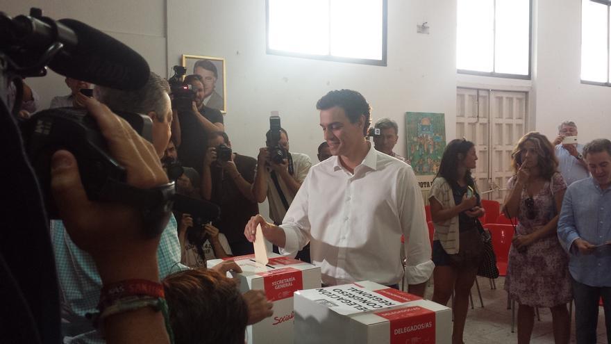Pedro Sánchez ha votado esta mañana en la sede del PSOE en el distrito de Tetuán /EP