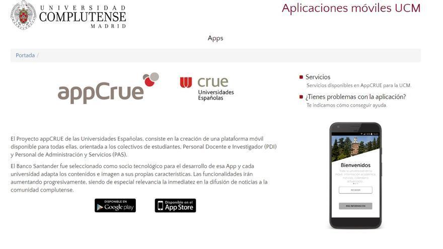 La UCM anuncia esta aplicación en su página web