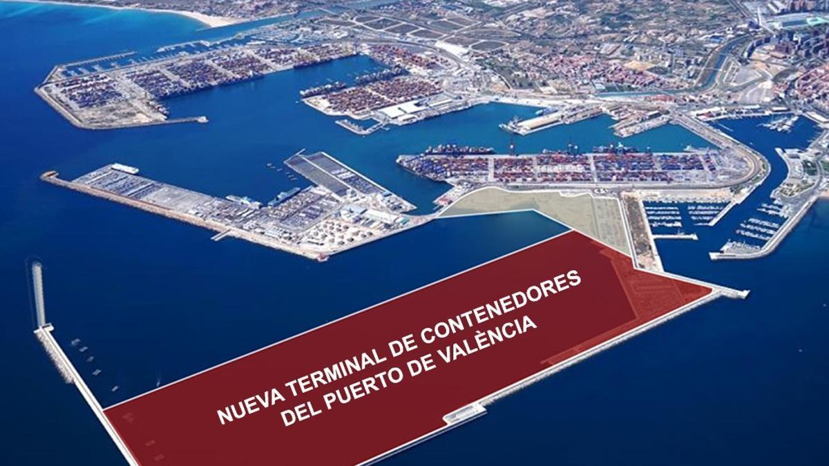 Proyección de la futura terminal de contenedores en el Puerto de València.