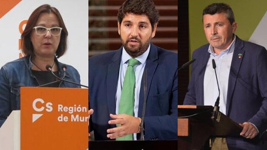 Isabel Franco (Cs), Fernando López Miras (PP), Pascual Salvador (Vox)