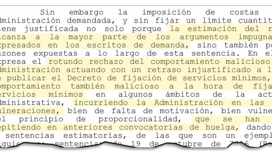 """Fragmento de sentencia del Tribunal Superior de Galicia criticando la reiterada """"maliciosidad"""" de la Xunta al fijar servicios mínimos"""