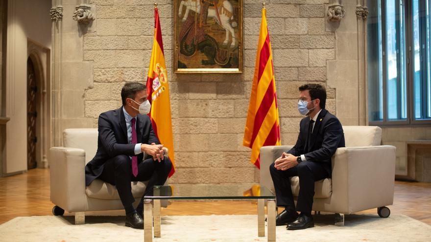 Pedro Sánchez y Pere Aragonès se han reunido en el Palau de la Generalitat este miércoles