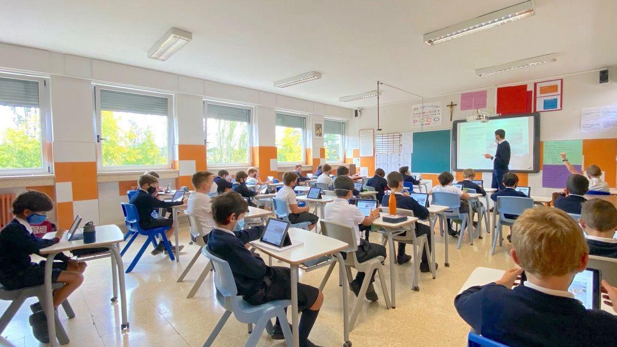Aula de uno de los colegios de Pamplona que segrega por sexos