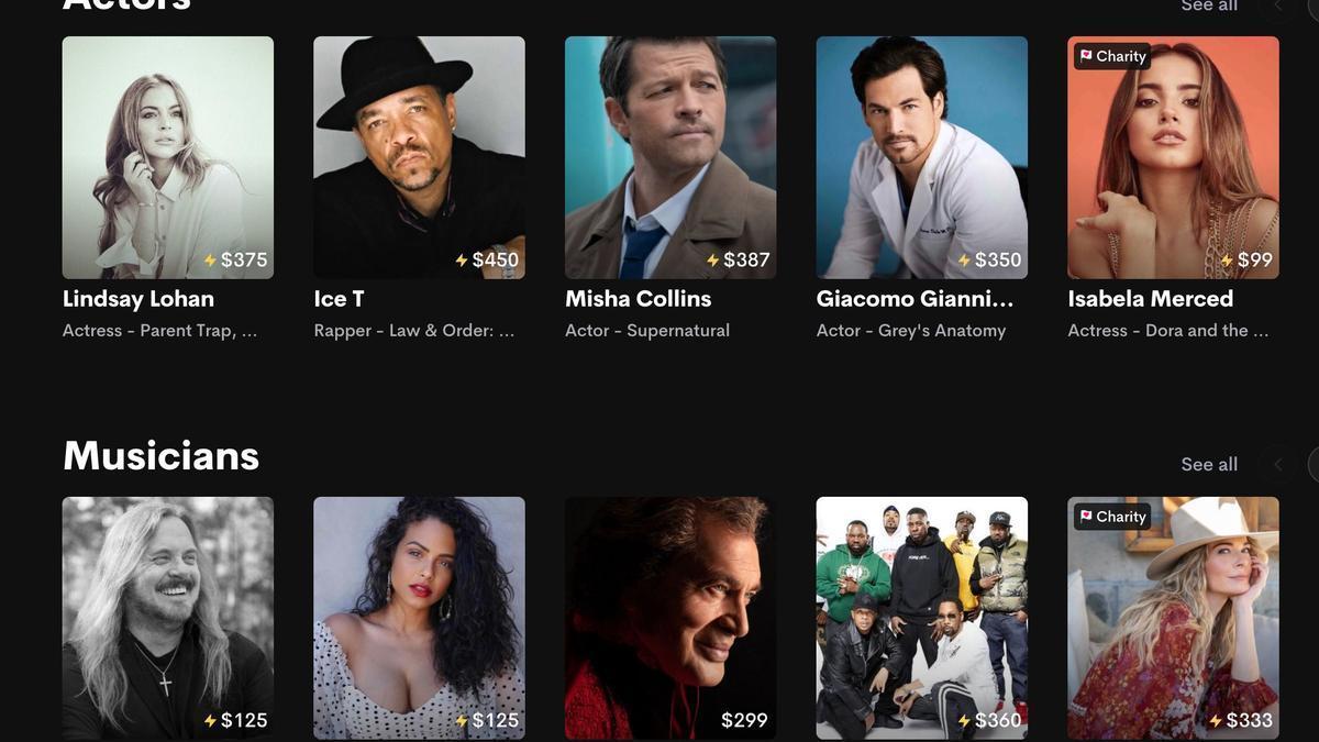 """""""Todo por un precio"""", en la plataforma Cameo se puede comprar desde saludos hasta video llamados de actores, deportistas o músicos"""