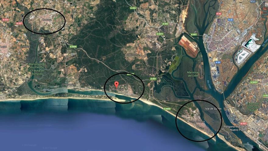 El Portil y Nuevo Portil (centro) con Cartaya y Punta Umbría en los extremos, donde se centraliza la seguridad de la zona.