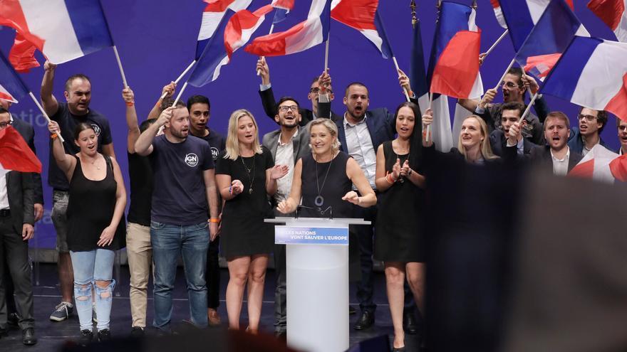 Acto de la presidenta de la Alianza Nacional francesa, Marine Le Pen, en Frejus, el 16 de septiembre de 2018.