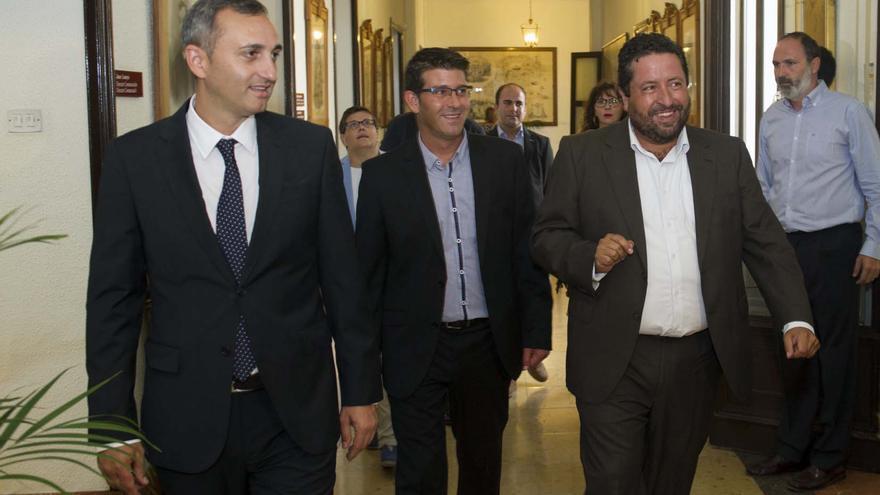Los presidentes de las diputaciones de Alicante (César Sánchez), Valencia (Jorge Rodríguez) y Castellón (Javier Moliner)