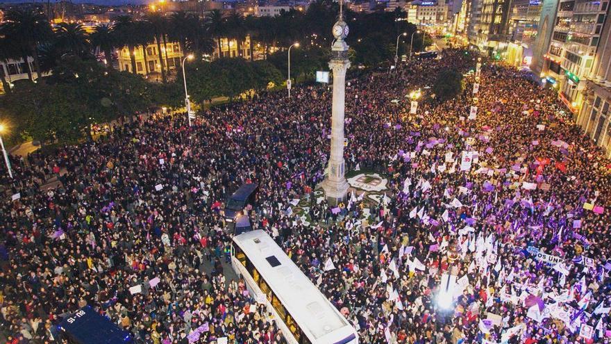 Comienzo de la manifestación de 8M en A Coruña