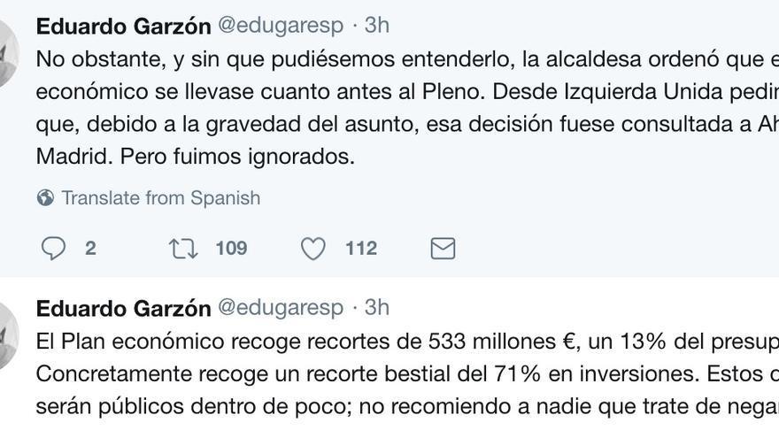 Tuits de Eduardo Garzón sobre la destitución de Carlos Sánchez Mato.