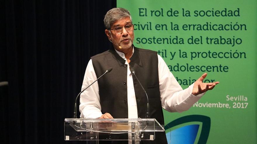 Satyarthi, durante su intervención en el foro 'El rol de la sociedad civil en la erradicación sostenida del trabajo infantil y la protección del adolescente trabajador' celebrado en la Fundación Tres Culturas