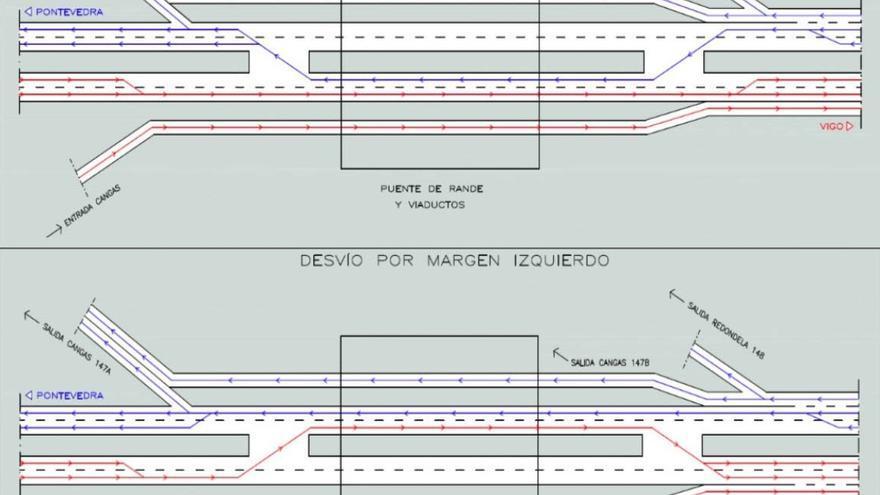 Esquemas de los cortes de carriles en el puente de Rande durante las noches anunciados por Fomento
