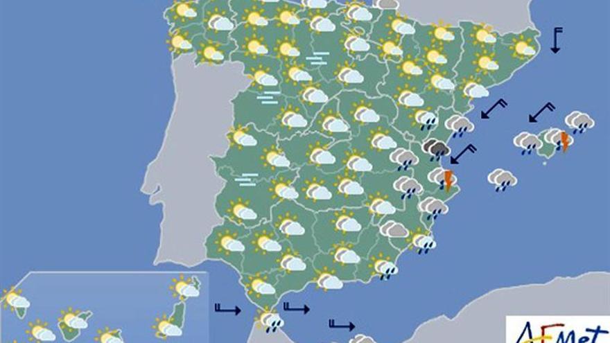 Las fuertes lluvias seguirán hoy en Valencia y en Baleares