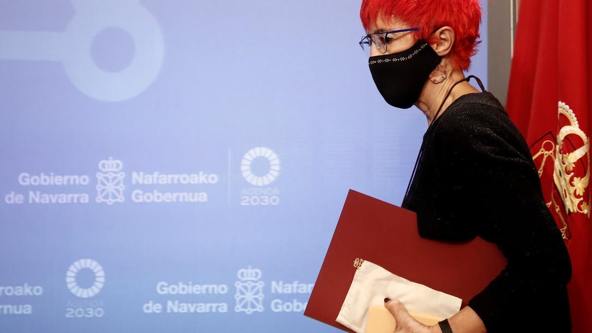 La consejera de Salud, Santos Induráin en una rueda de prensa anterior