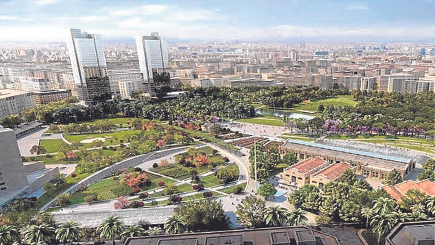 Recreación del parque central de Valencia.