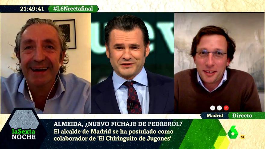 """Pedrerol sorprende a Almeida en 'laSexta Noche' y acepta que colabore con 'El Chiringuito': """"Pero sin privilegios"""""""
