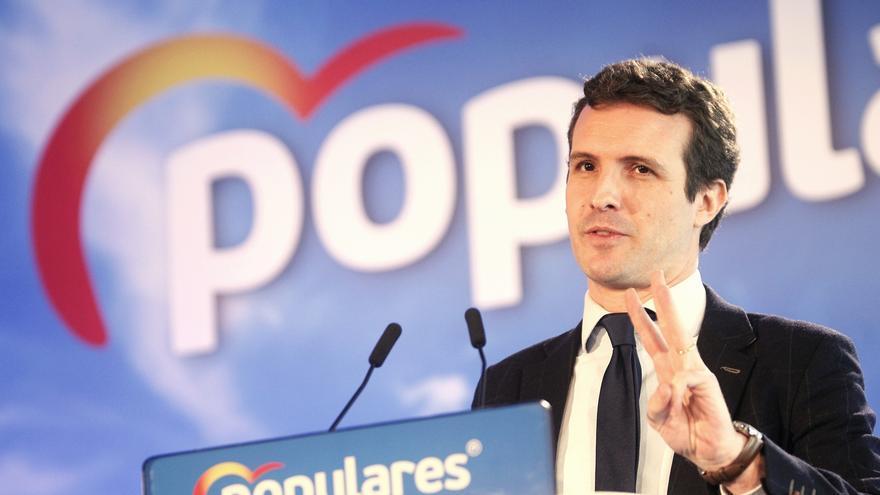 El presidente del PP, Pablo Casado, interviene en un acto político