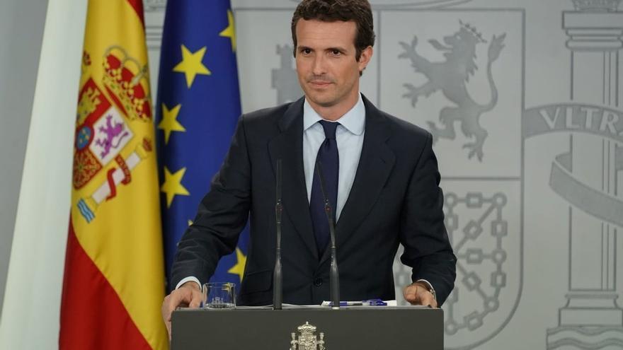 Pablo Casado, durante su comparecencia en Moncloa tras reunirse con Pedro Sánchez.