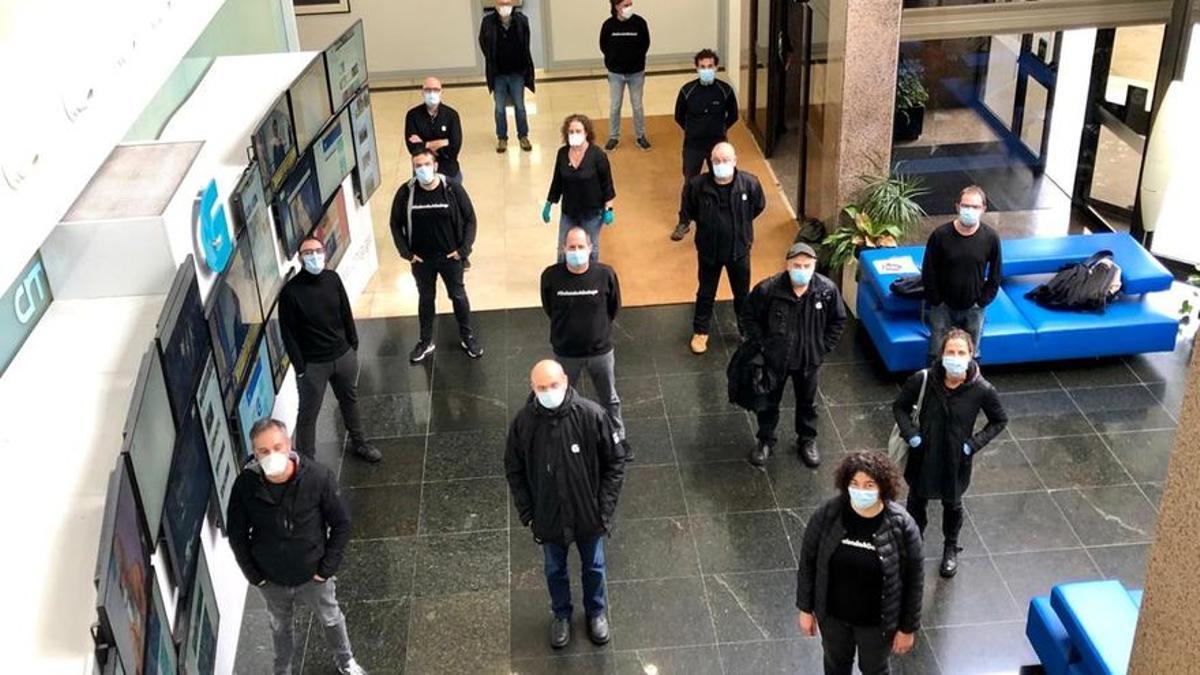 Protesta de trabajadores de la CRTVG contra la manipulación informativa